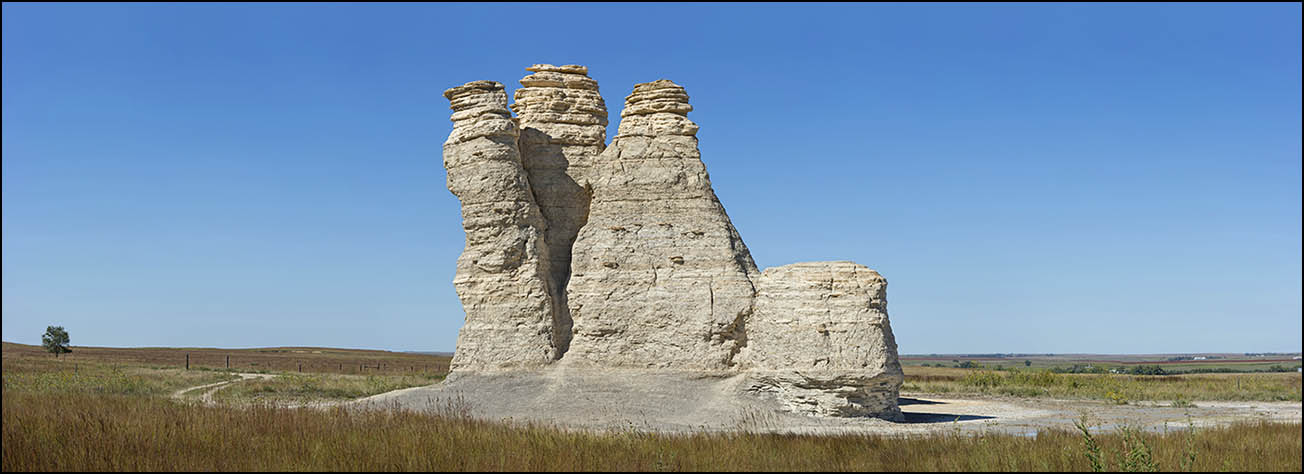 Castle Rock, Gove County, Kansas: an outcropping of Cretaceous rock formed when Kansas and much of the central North America was covered by an ancient ocean.