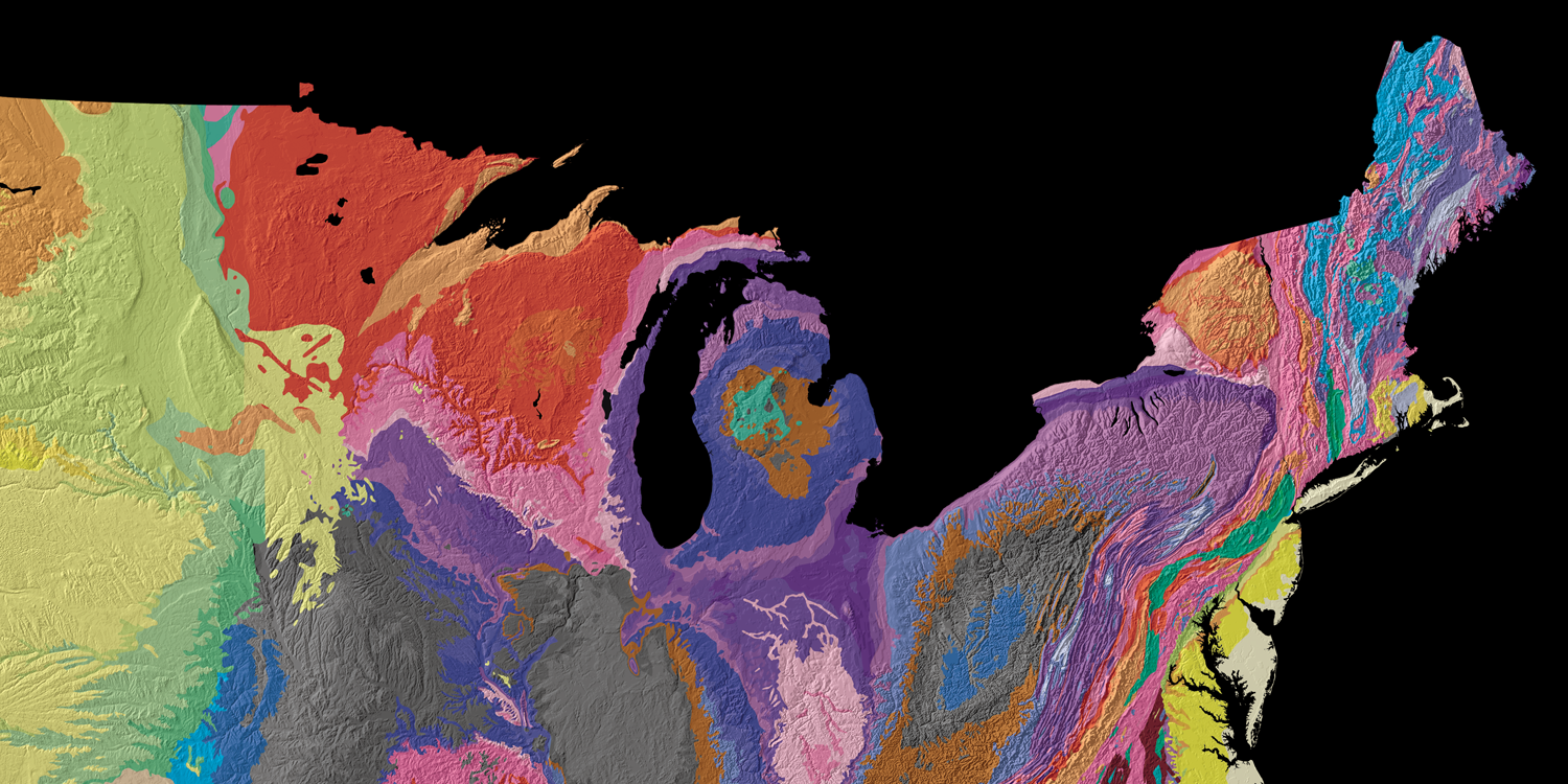 "Geological map of the northeast and upper midwest of the United States. Modified from the United States Geological Survey ""Tapestry of Time"" ."