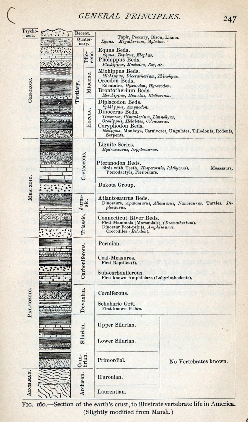 Geological time scale from Le Conte (1885)