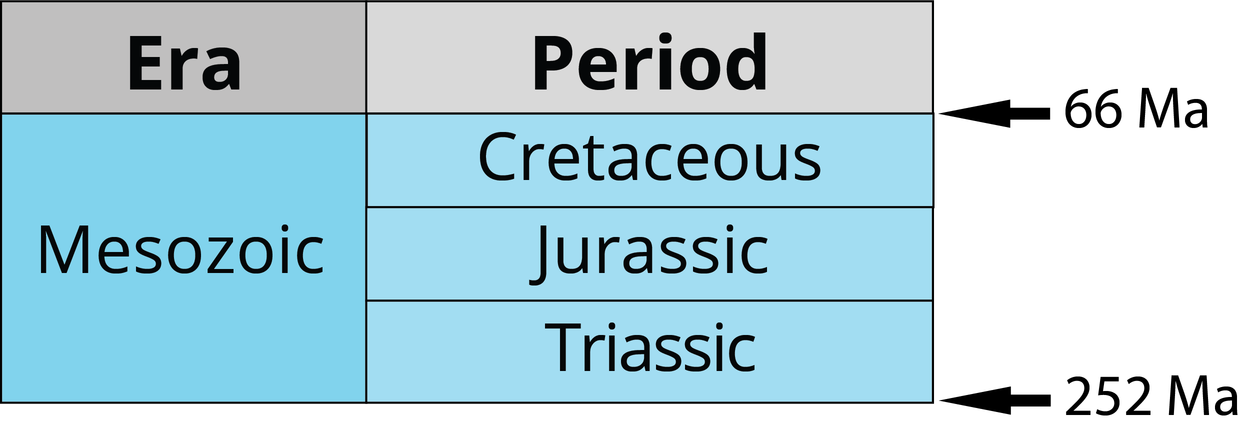 Periods of the Mesozoic era: Triassic, Jurassic, Cretaceous