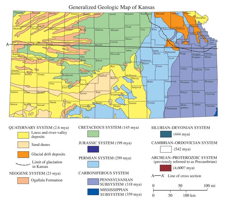 Geological map of Kansas