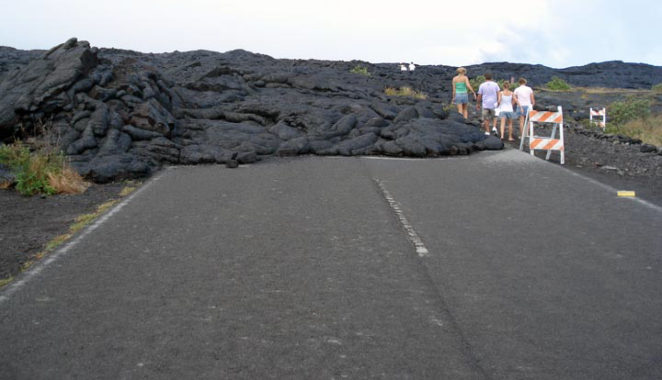 Lava flow over road in Hawaii