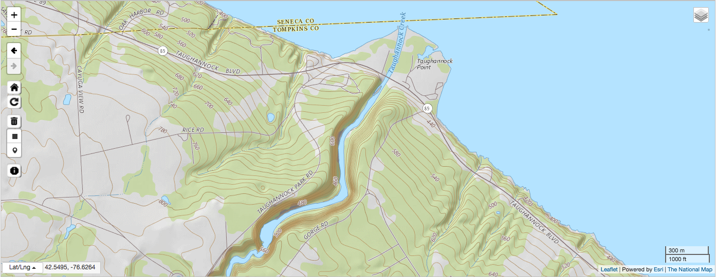 Topographic map of area near Taughannock Falls State Park in central New York