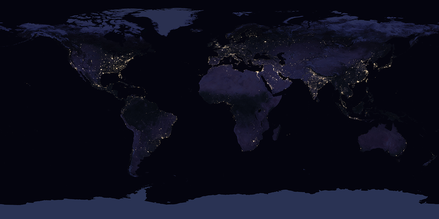 The world at night, lit by human civilization. Humans occupy much of Earth's habitable land area.