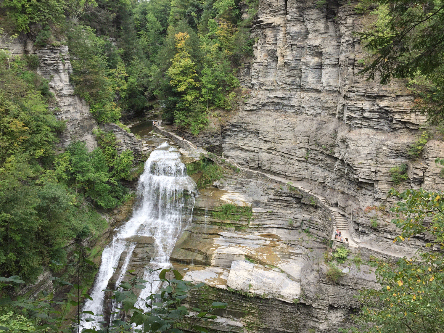 Lucifer Falls at Robert H. Treman State Park, Ithaca, New York (note people for scale). The sequence of rocks shown in this photograph (Devonian Sonyea Group) may represent about 1,000,000 years of geological time.