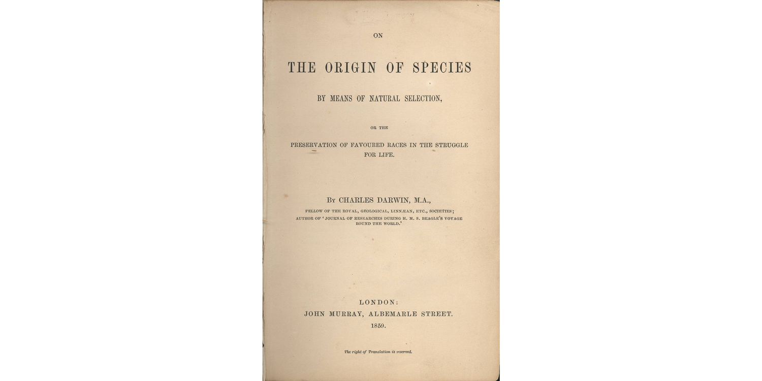 Title page of the first edition (1859) of Darwin's On the Origin of Species.