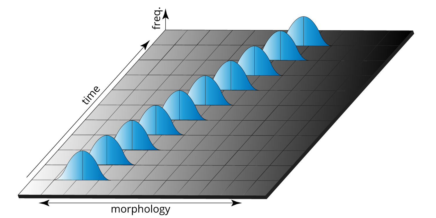 Gradual evolutionary change in a feature over time. The bell curves represent natural variation in that feature during any one particular time interval.