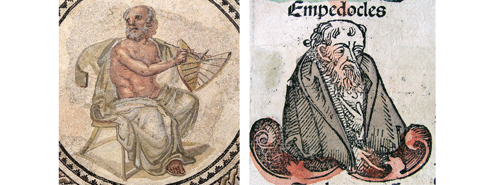 Image includes a tile mosaic of Anaximander and a drawing of Empedocles.