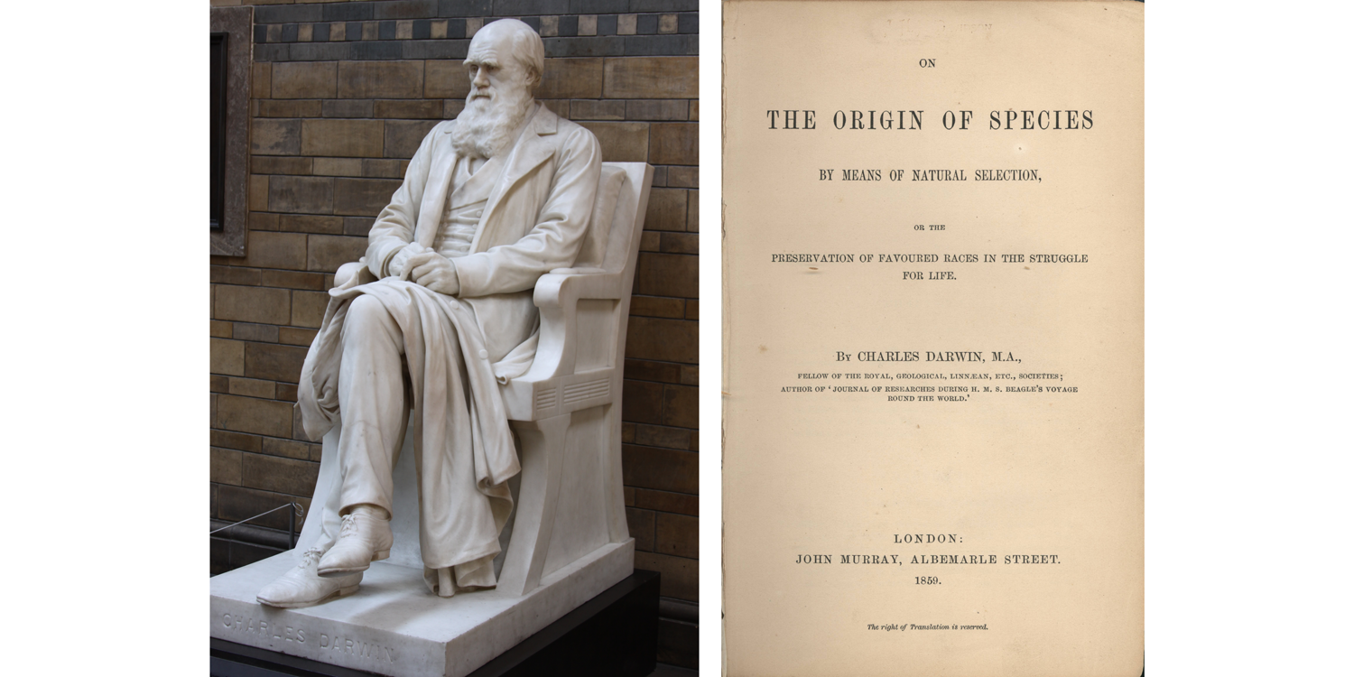 Image shows a marble statue of Charles Darwin and the title page of On the Origin of Species.