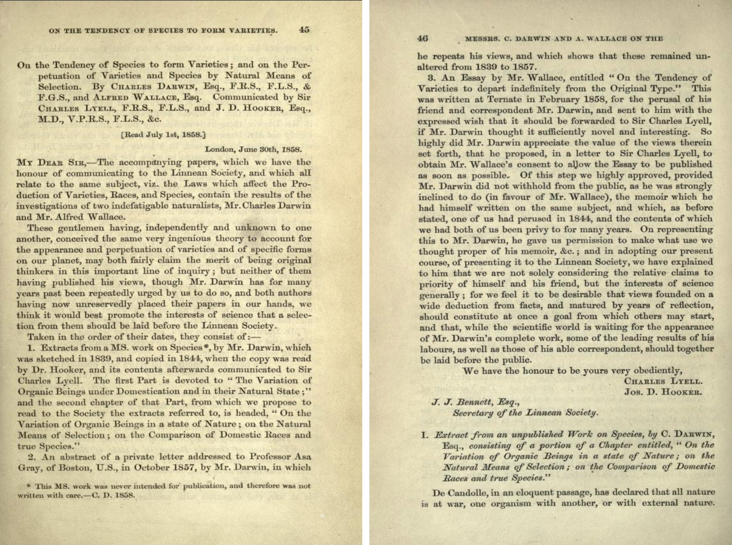 "The first two pages of ""On the tendency of species to form Varieties; and on the Perpetuation of varieties and species by natural means of selection"" by Charles Darwin and Alfred Wallace (July 1, 1858)."