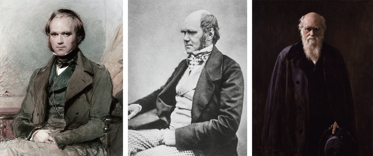Charles Darwin during different stages of his life. Left: portrait of Darwin as a young man in the late 1830's (by George Richmond). Middle: photograph of Darwin in middle age (likely 1854). Right: portrait of Darwin in old age (by John Collier; 1881).