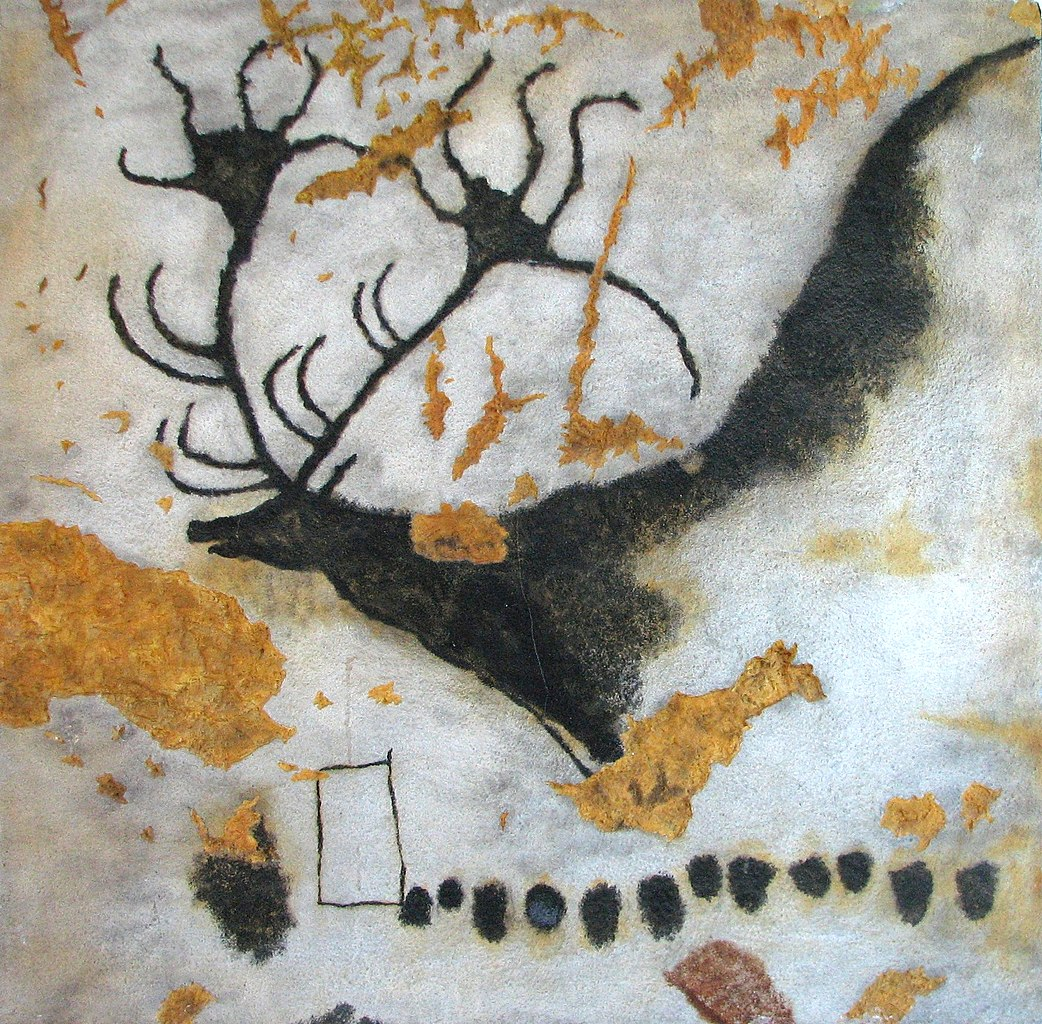 "Photograph of a ancient cave painting of an ""Irish Elk."""