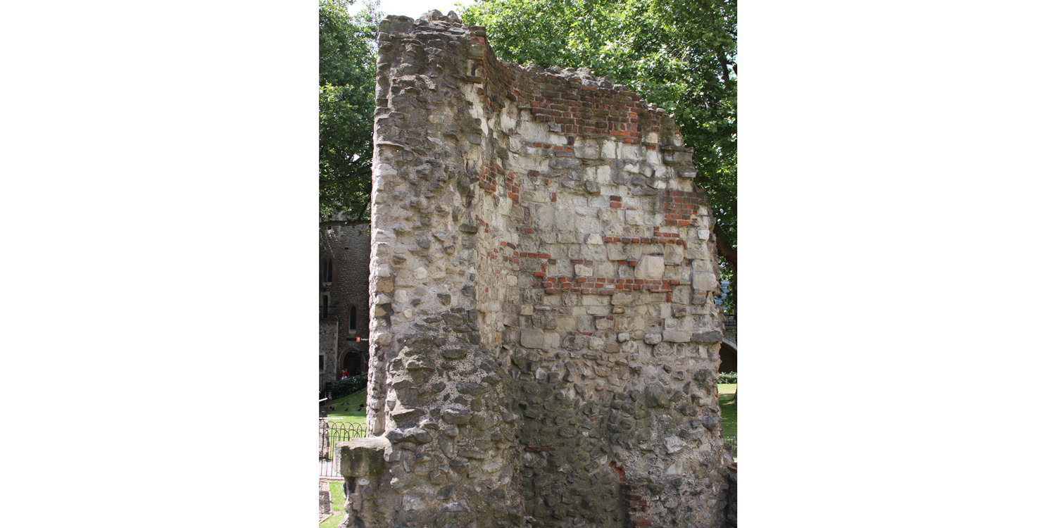 Photograph of a portion of a Roman wall at the present location of the Tower of London.