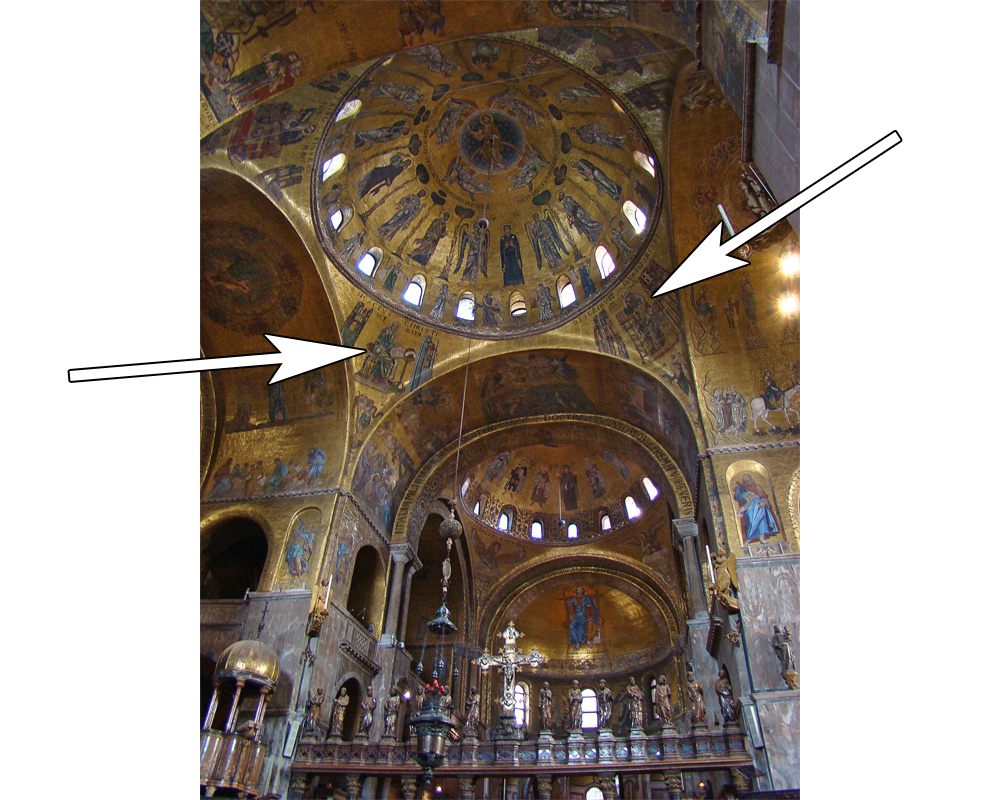 Spandrels identified by arrows at St. Mark's Basilica in Venice, Italy.