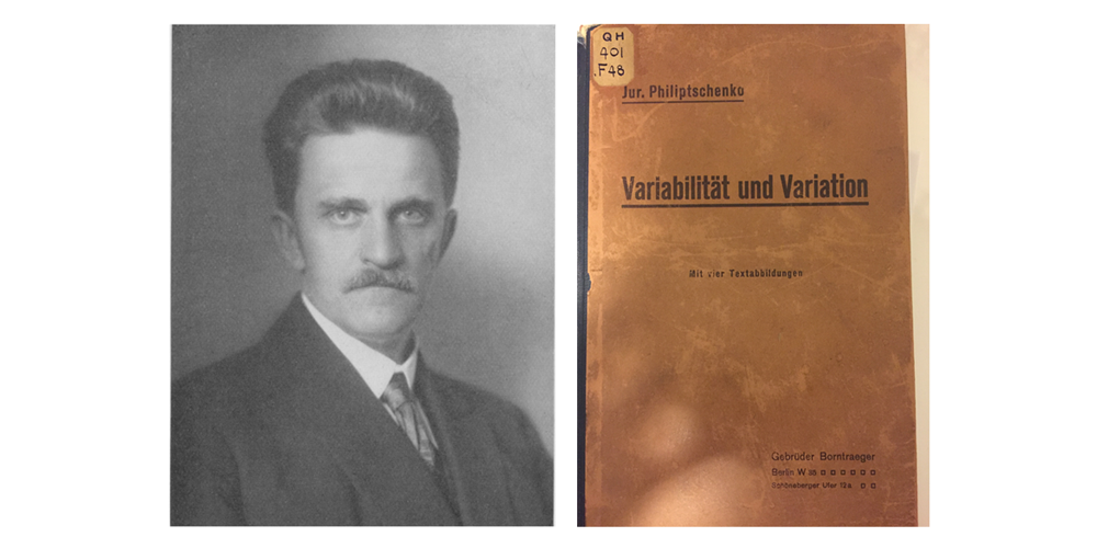 Photograph of Filipchenko and the front cover of his work Variabilitat und Variation