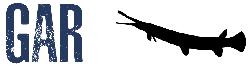 "Image showing the word ""gar"" with an adjacent silhouette of a gar"