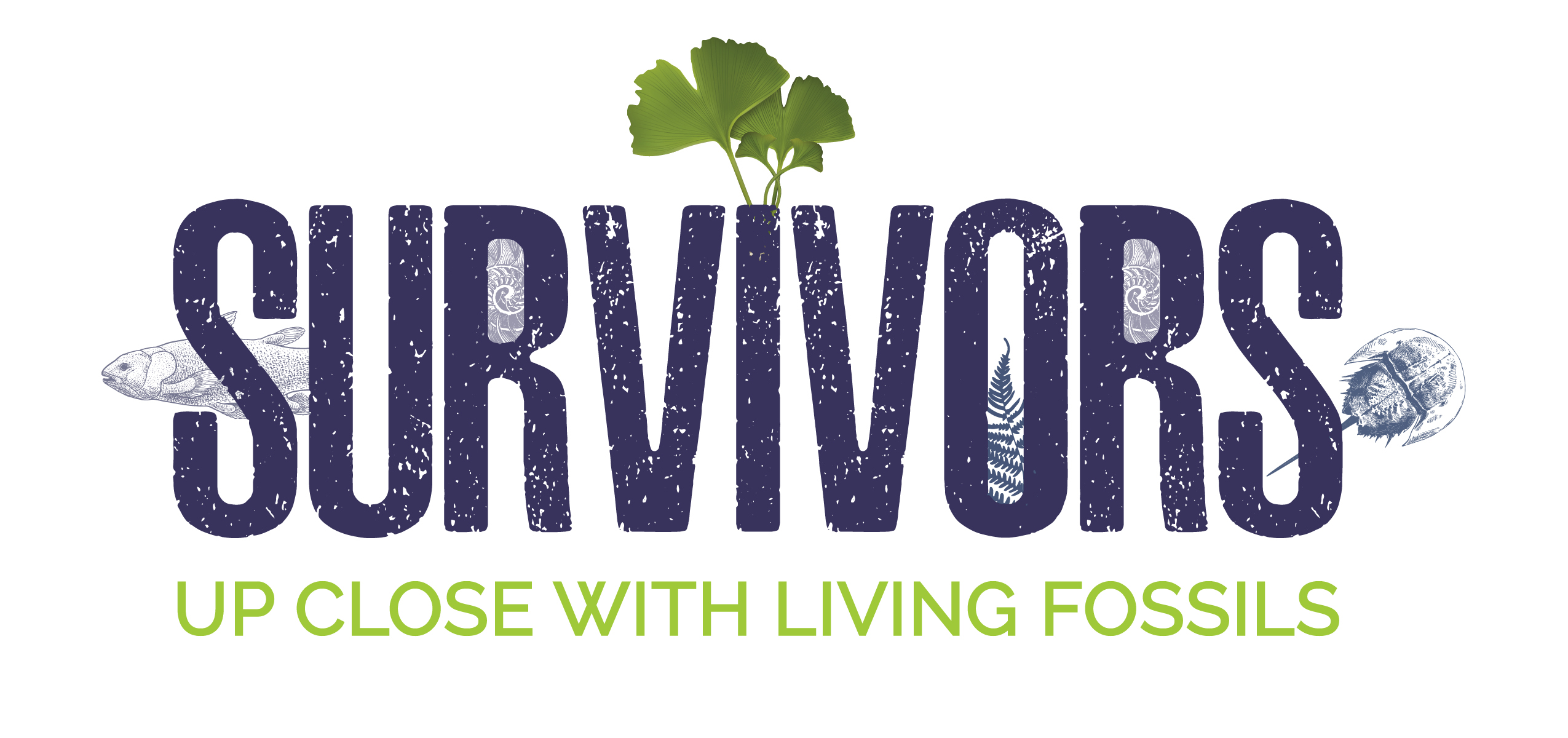 "Logo of the ""Survivors: Up Close with Living Fossils"" exhibit"
