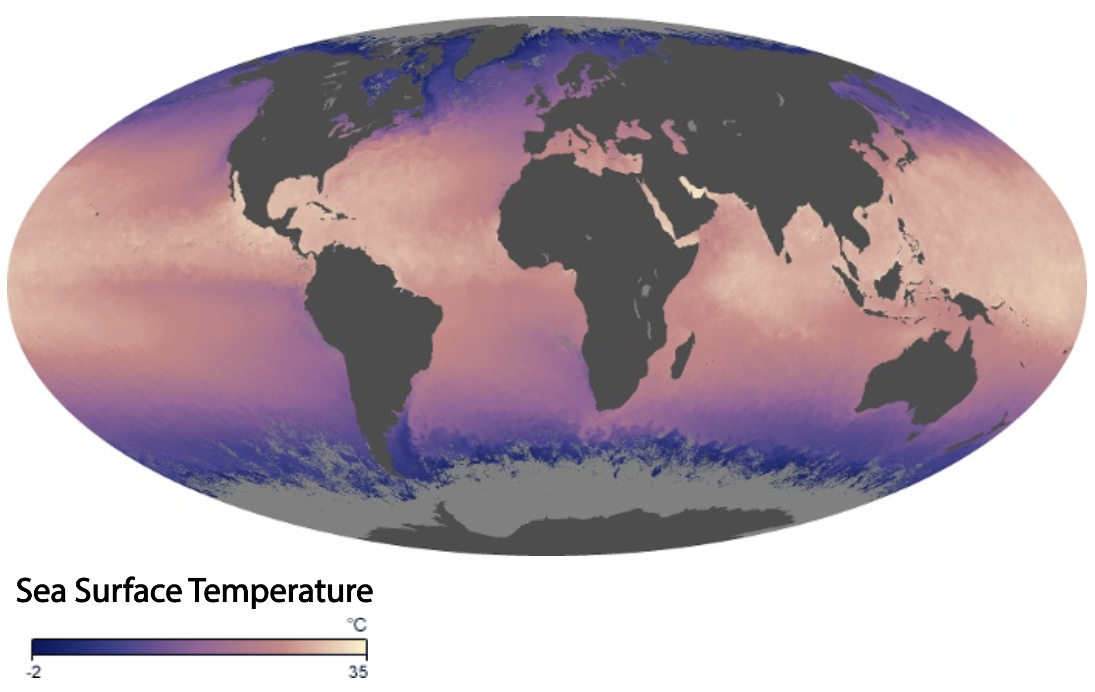 Map showing global sea surface temperature during September 2019.