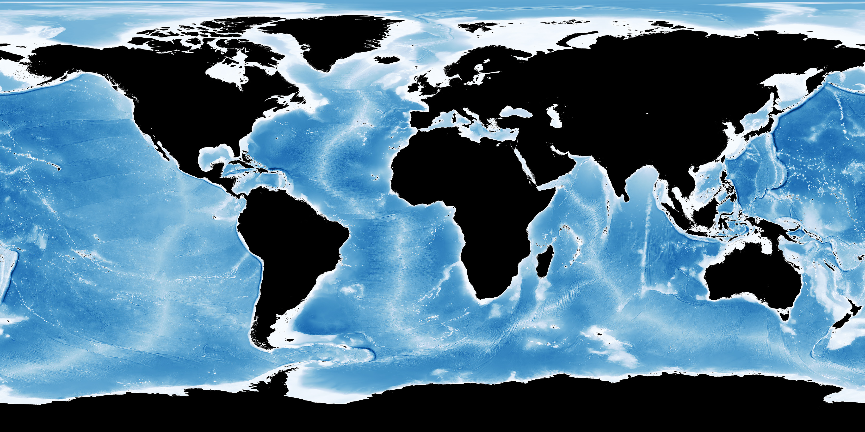 Map showing global ocean water depth.