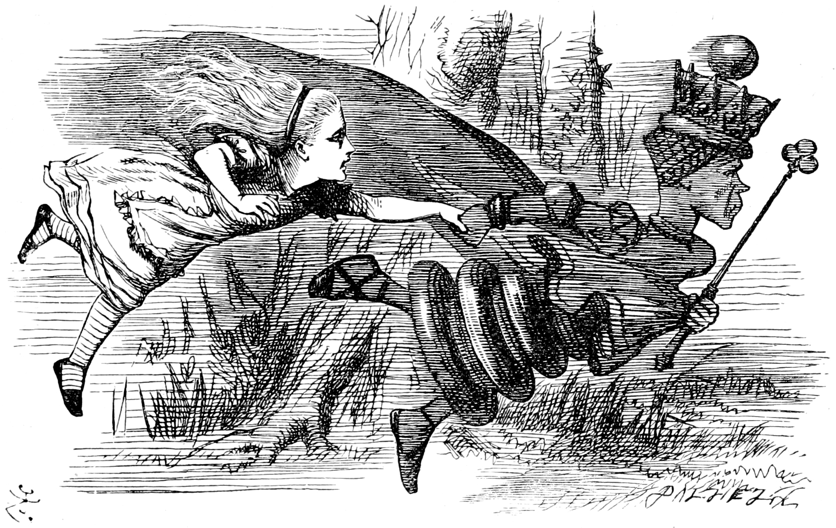A 19th century illustration of the Red Queen pulling the character Alice by the arm.