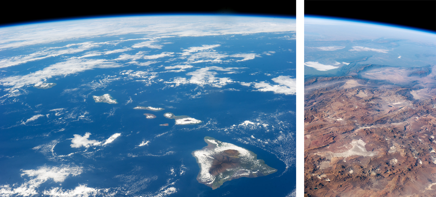Image shows photographs from space of the Hawaiian Islands and the Andes Mountains.