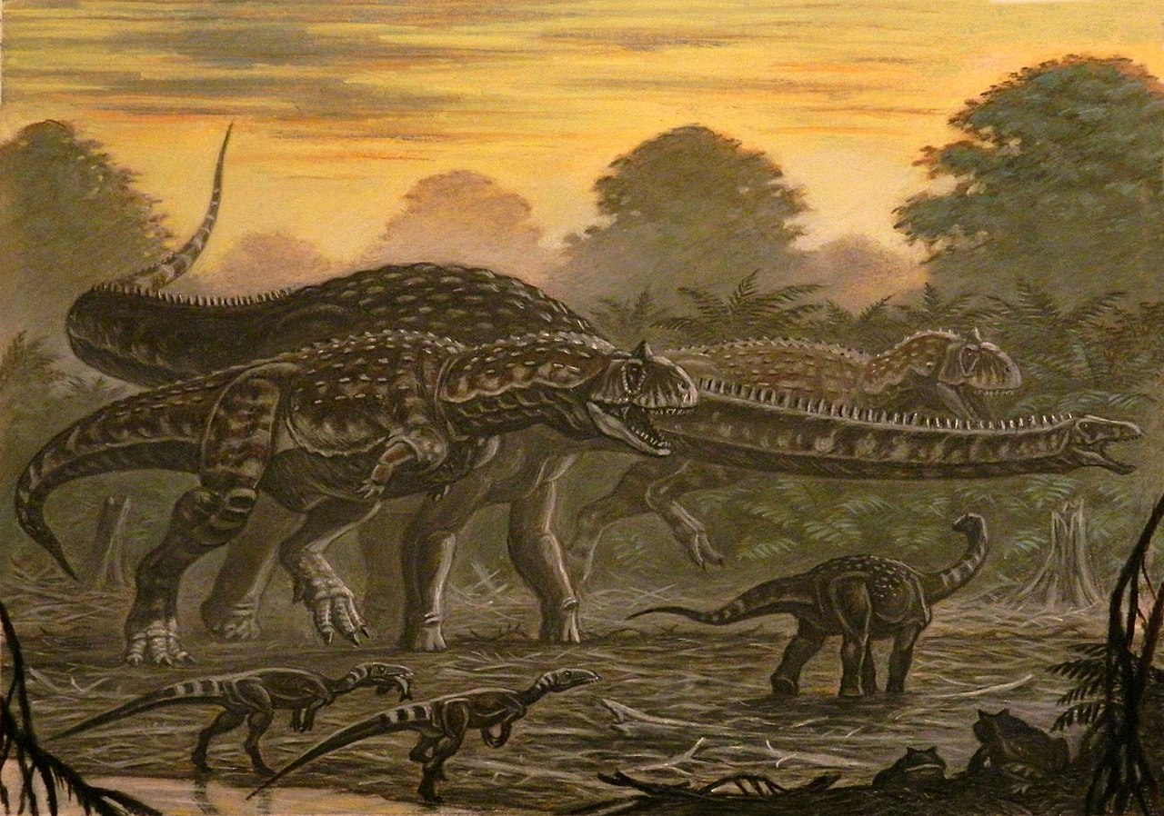 Painting of several dinosaur species in an ancient environment.